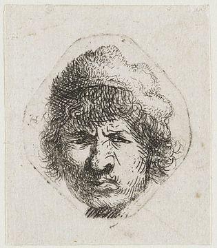 Selbstporträt, sieht verstohlen aus, Rembrandt van Rijn