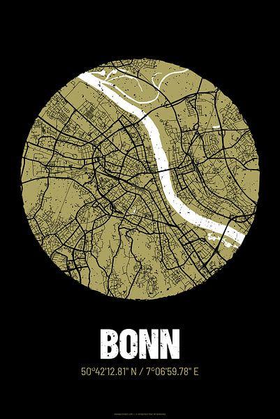 Bonn – City Map Design Stadtplan Karte (Grunge) von ViaMapia