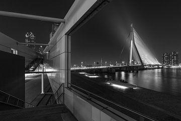 De Erasmusbrug in Rotterdam geframed van