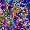 geometrische abstracte kunst van het menselijk gezicht van EL QOCH thumbnail
