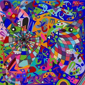 geometrische abstracte kunst van het menselijk gezicht