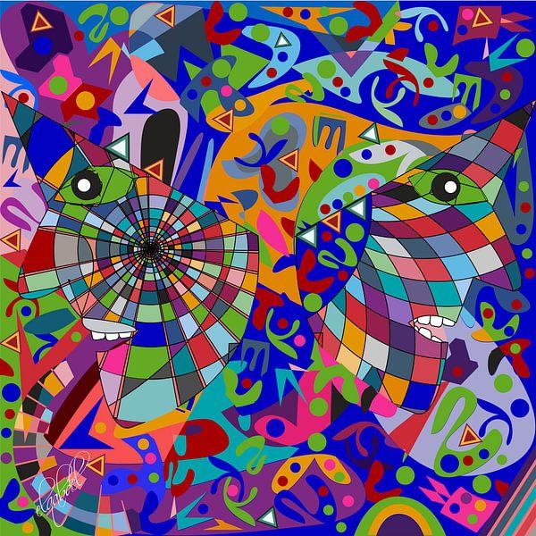 geometrische abstracte kunst van het menselijk gezicht van EL QOCH