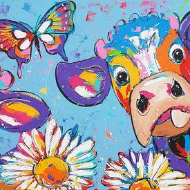 Hollandse koeien van Vrolijk Schilderij