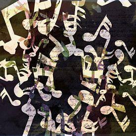 Dansende Muzieknoten grunge van Nicky`s Prints