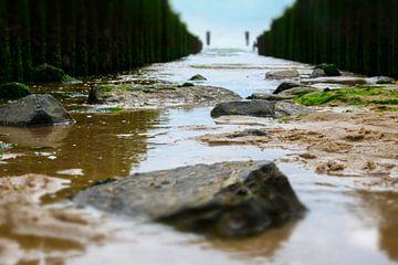 Blick auf die Wellenbrecher in Zoutelande von Erik Wouters
