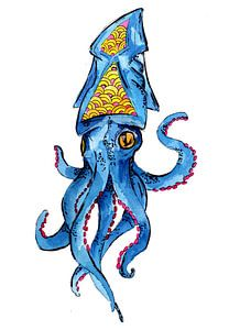 Blauwe inktvis van ZeichenbloQ