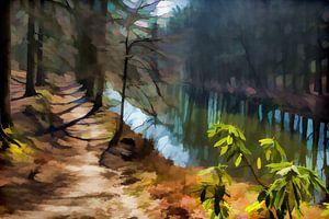 Door het bos, langs het water.  van