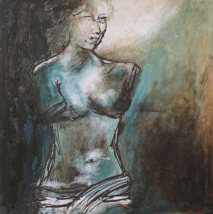 Portret van de Venus van Milo. Het borstbeeld van Aphrodite van Linda Dammann