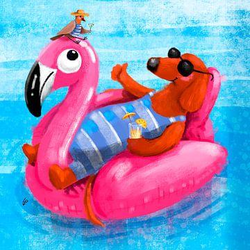 Dackel Tobie schwebt gerne auf seinem rosa Flamingo von Linda van Putten