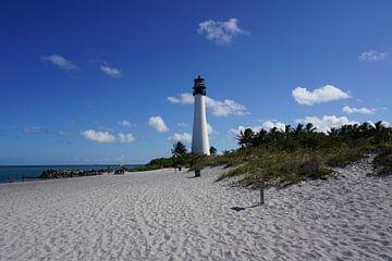 Vredig strand met prachtige vuurtoren in Florida van Nynke Nicolai