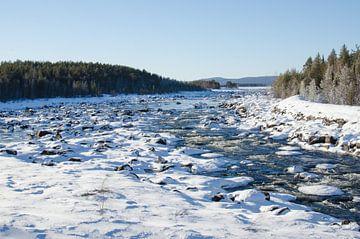 Stromend water door besneeuwd Zweeds Lapland van Anouk Hol