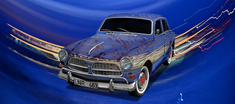 Affiche de la Volvo Amazon Art Car en bleu spécial par aRi F. sur aRi F. Huber