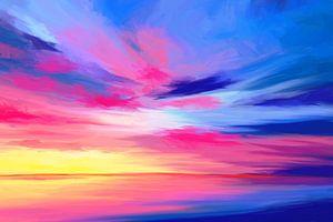 Expressief schilderij van de zee bij zonsondergang van