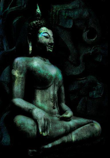 Zittende Buddha met olifanten