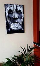 Klantfoto: Tribal beauty - Ethiopië, Mursi mensen, Sergio Pandolfini van 1x, op canvas