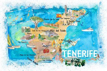 Tenerife Canarische Eilanden Spanje geïllustreerde kaart met bezienswaardigheden en hoogtepunten van Markus Bleichner