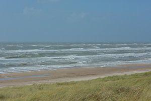 Egmond aan Zee -duinen, strand, zee en lucht. van
