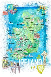 Irland Illustrierte Reisekarte mit Straßen und Highlights von Markus Bleichner