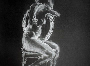 Sitzender weiblicher Akt. von Ineke de Rijk