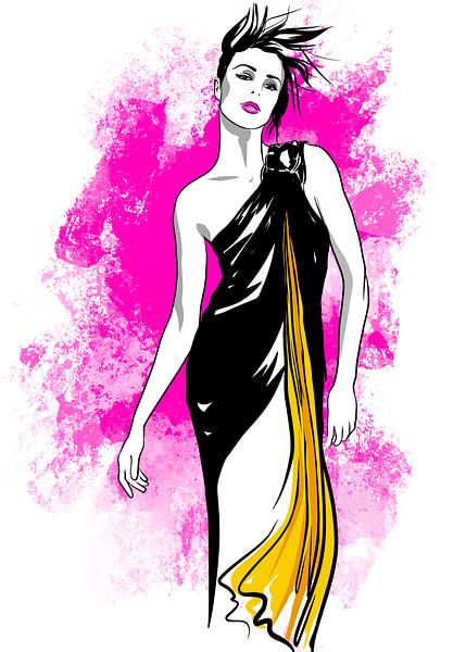 Pink Explosion Modeillustration von Janin F. Fashionillustrations