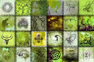 Collage in groen met tekens en symbolen van
