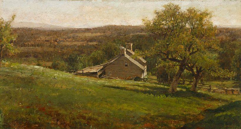 Landschaft mit Bauernhaus, George Inness von Meesterlijcke Meesters