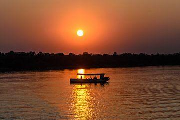 Sunset at the Zambezi River van Jurgen Hermse