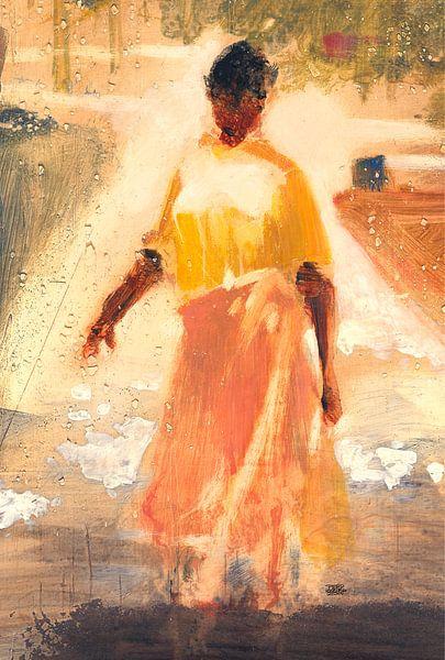 Vrouw in de zon, Curacao van Pieter Hogenbirk