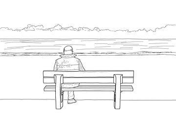 Man op Bank aan het Strand van Drawn by Johan