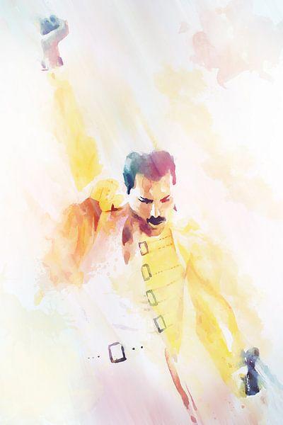 Freddie Mercury  Abstract Waterverf Portret van Art By Dominic