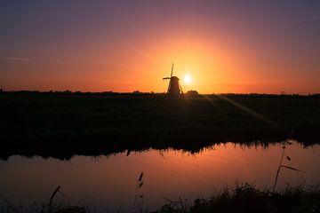 Sonnenuntergang Mühle von Wilco Bos