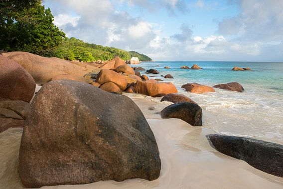 Anse Lazio strand bij zonsopkomst, Seychellen
