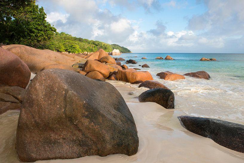 Anse Lazio strand bij zonsopkomst, Seychellen van Nature in Stock