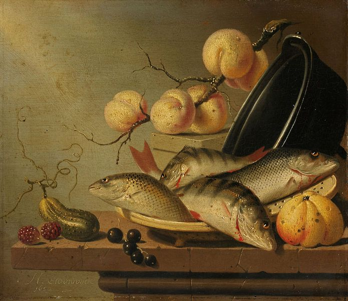 Stillleben mit Fisch und Obst, Harmen Steenwijck von Meesterlijcke Meesters