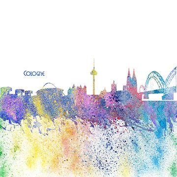 Cologne Germany Skyline Silhouette Impressionistic Splash sur Markus Bleichner