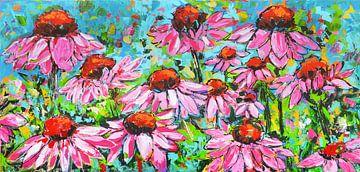 Kleurrijke bloemen in een veld van Vrolijk Schilderij