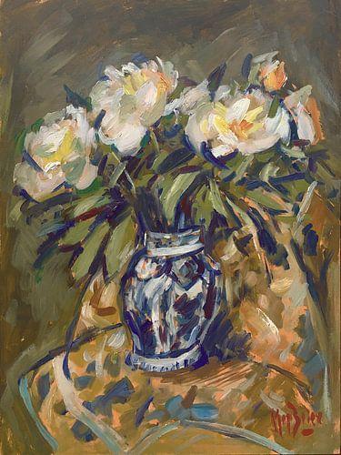 Pioenrozen in Delftblauwe vaas op quilt van