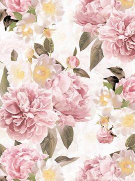 Pastel Hygge Vintage Peonies Garden van Uta Naumann