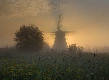 Mühle im Nebel von Paul Begijn