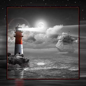 Leuchtturm und Segelschiff unter Beleuchtung - SW Colorkey von