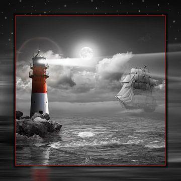 Vuurtoren en zeilboot onder belichting - SW Colorkey van Monika Jüngling