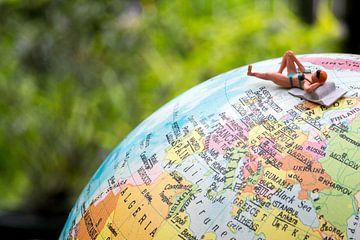 Miniatuur badgast op wereldbol van