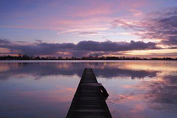 Heure bleue reflétée dans le Nannewiid sur Wilco Berga
