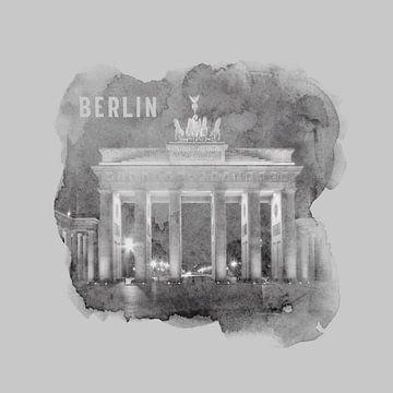 BERLIN Porte de Brandebourg | Style aquarelle monochrome sur Melanie Viola