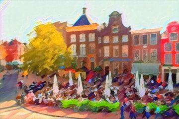 Kleurrijk Schilderij van Groningen Drie Gezusters op de Grote Markt in de stijl van Kandinsky