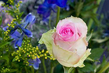 Rosa Rose mit Rittersporn in einem Strauss gelber Blumen von Idema Media