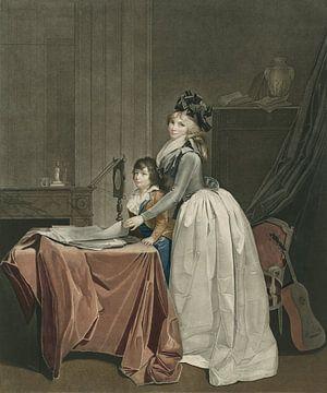 Portret van Louise Sébastienne Danton met stiefzoon achter een opticaspiegel, J.F. Cazenave