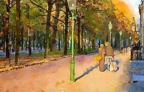 couple are walking in street, watercolor style van