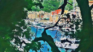 Italië - Uitzicht van achter de Bomen op Portofino aan de Italiaanse Rivièra - Schilderij