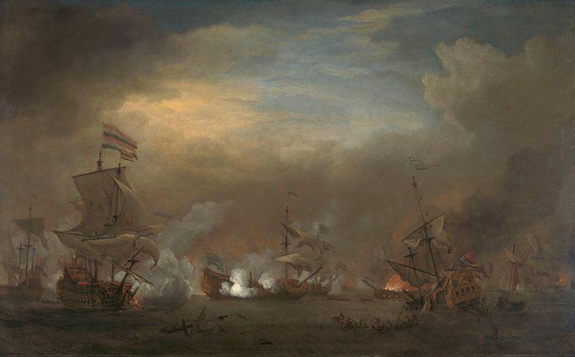 Gevecht tijdens de zeeslag bij Kijkduin, Willem van de Velde (II) van Meesterlijcke Meesters